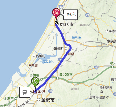 金沢駅から宇野気駅